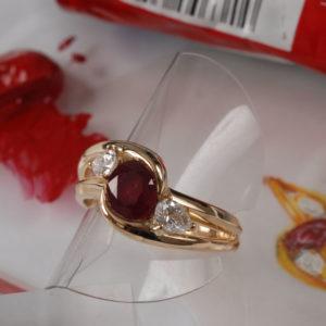 Bague Fiancailles Rubis Et Diamants  - Création Le Caroubier Bijoutier Joaillier Tours