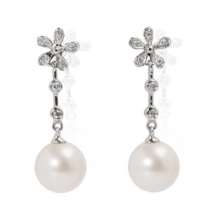BO Fleure Perle Or Blanc Diamants