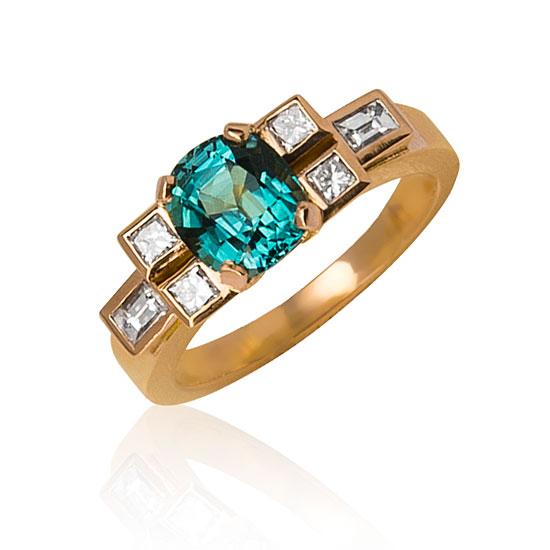 Bague Indigolite - Tourmaline et diamants princesse